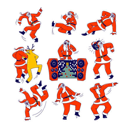 Funny Santa Claus and Reindeer Dancing. Christmas Characters Dab Move, Dance Brake and Hip Hop Style, Teenage Culture