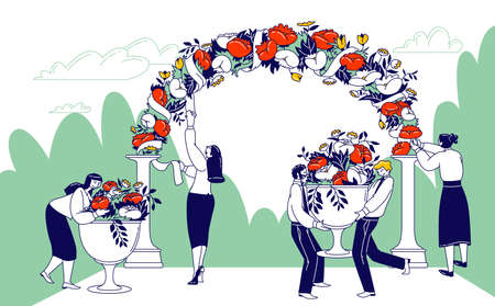 Wedding Agency Staff Characters Decorate Outdoor Area for Marriage Ceremony Celebration. Flowers and Ribbons Decoration Illustration