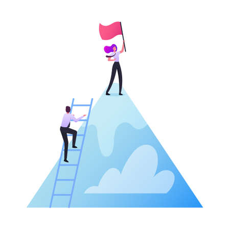 Characters Take New Height. Business Team Climbing Up of Mountain. Businessman Stand on Ladder, Businesswoman with Flag