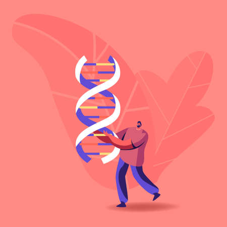 Tiny Male Character Carry Huge Dna Spiral. Doctor Conduct Laboratory Genetic Research, Medicine Testing, Anthropology