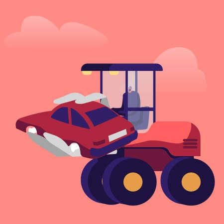 Heavy Machine Loading Old Car Dump on Junkyard. Male Character Work on Scrapyard or Junk Yard Utilize Crashed Vehicles