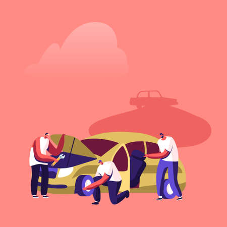 Vehicles Utilization Concept. Mechanics Characters Work on Junkyard Disassemble Old Used Automobile or Damaged Car