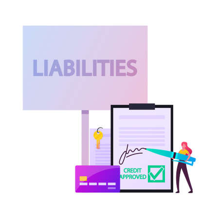 Liabilities Concept. Tiny Female Character Signing Debentures Document Stand at Huge Credit Card and Paper with Key