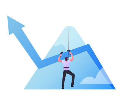 Businessman Climb Up on Mountain Top by Rope with Growing Arrow Chart, Business Man Aiming to Take New Career Height.