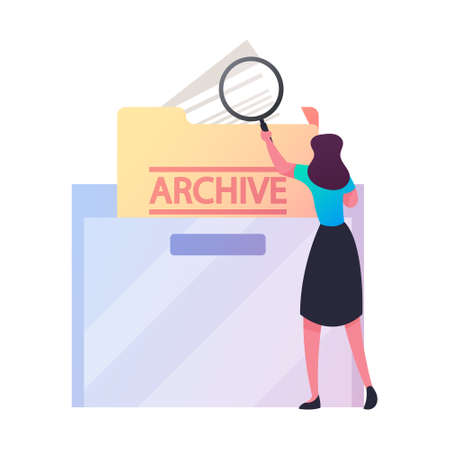 Businesswoman Search Documents in Archive Storage. Office Employee Character Searching File in Cabinet Drawer with Glass