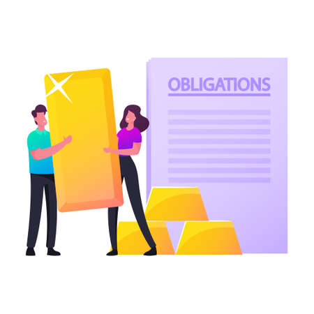 Assets and Liabilities. Tiny Male Female Characters Holding Huge Golden Bar Stand at Obligation Document. Property Value Ilustração