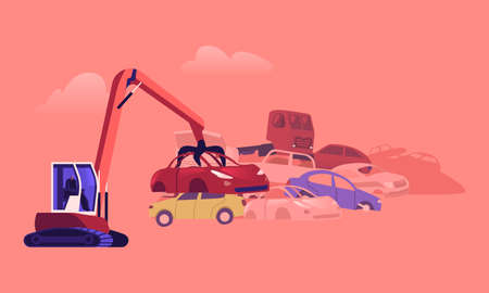 Character Working on Grabber Loading Old Junk Cars at Pile with Ruined Vehicles. Scrap Metal Utilization and Recycling Ilustração