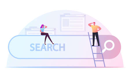 Tiny Male and Female Characters Search Information. Woman with Binoculars Sitting on Browser Interface, Man Look Forward