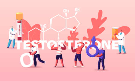 Male Health Concept. Tiny Characters Patients and Doctor at Huge Testosterone Formula. Man Hold Mars Sign. Hormones