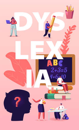 Dyslexia Disorder. Kids Characters Listen Teacher in Class front of Blackboard with Stationery around in Special School