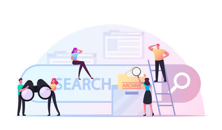 Characters Search Information in Internet Using Browser, Engine Optimization and Web Analytics. People with Binoculars Ilustração