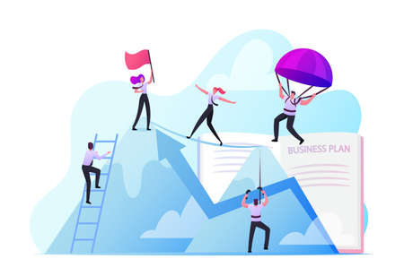 Business People Climbing on Mountain Peak, Walking on Rope, Falling with Parachute. Characters New Heights, Team Work