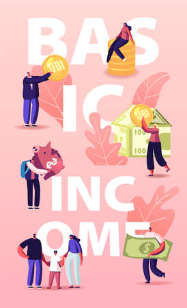 Ubi, Universal Basic Income Concept. Characters and House Made of Currency Bills. Men and Women with Coins. People Money