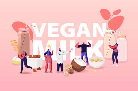 Vegan Milk Concept. Characters with Assortment of Organic Non Dairy Drinks from Nuts, Oatmeal, Rice and Soy. Health Care