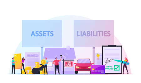 Assets and Liabilities Concept. Male Female Characters Share Property on Profitable and Unprofitable. People and Money