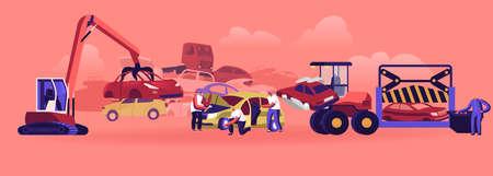 Car Dump Concept. Industrial Crane Claw Grabbing Old Car for Recycling, Automobiles Utilization, Dismantling Auto Scrap Illusztráció