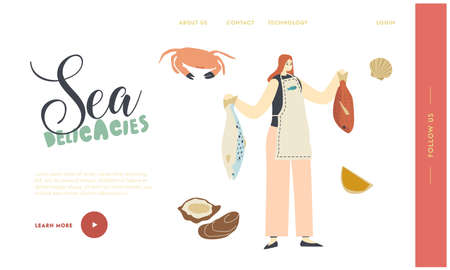 Female Character Holding Raw Fish for Cooking Seafood Meal Landing Page Template. Woman Presenting Sea Products for Cook