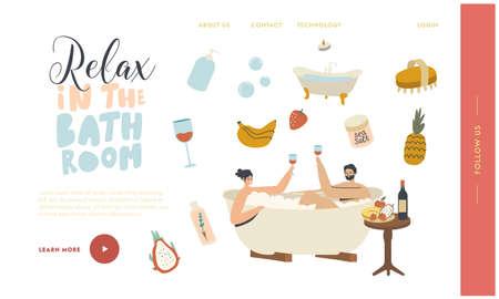 Relaxation, Wellness Body Care, Honeymoon Date Landing Page Template. Couple Relax in Bath Drinking Wine Sauna or Spa Vektorgrafik