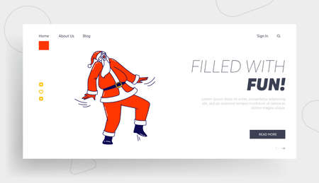 Santa Claus Dance at Party or Xmas Celebration Landing Page Template. Christmas Character in Traditional Costume Dancing