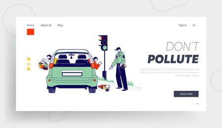 Environment Pollution Landing Page Template. Male Characters Throw Garbage through Car Windows Policeman Ask to Clean Up