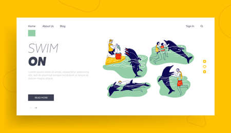 People Swimming with Dolphins Landing Page Template. Adults, Children Characters Playing with Cute Sea Animals, Feeding