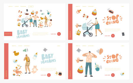 Maternity, Mother Care Landing Page Template Set. Characters with Kid Stroller Suffer of Baby Crying. Child with Cramps