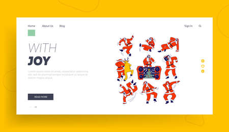 Santa Claus and Reindeer Dancing Landing Page Template. Christmas Characters Making Dab Move, Dance Break and Hip Hop