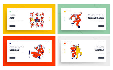 Funny Santa Claus and Reindeer Dancing Landing Page Template Set. Christmas Characters Dab Move, Dance in Hip Hop Style