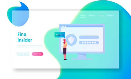 Insider Character Spying Landing Page Template. Tiny Woman Stand front of Huge Computer with Shield and Stars on Screen