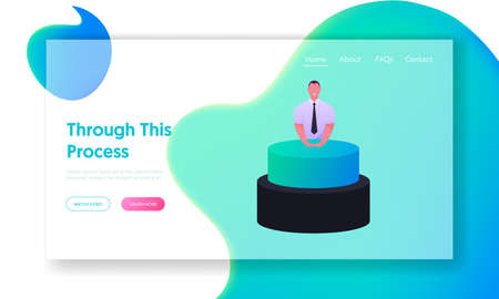 Businessman Character Push Huge Button Landing Page Template. Launching Business Project Startup. Strategy Realization