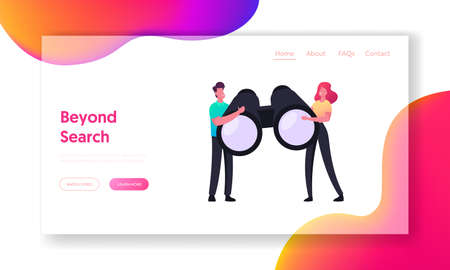 Business Vision, Research Landing Page Template. Tiny Characters Holding Huge Binoculars, Visionary Forecast Prediction Illustration