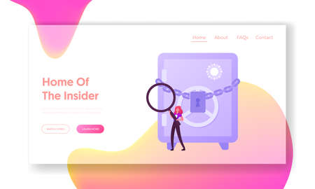 Confidential Information Research Landing Page Template. Female Insider Character with Huge Magnifying Glass and Badge