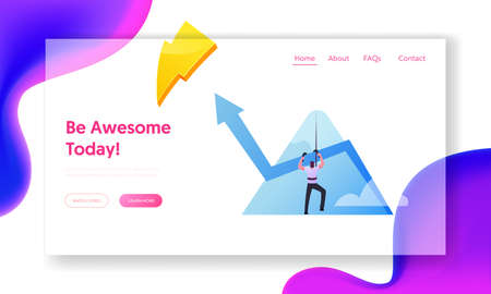 Business Man Aiming to Take New Career Height. Landing Page Template. Businessman Character Climbing Up on Peak