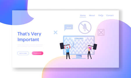 People Fight for Global Speech and Information Freedom Landing Page Template Tiny Characters Hit Censored Info on Screen