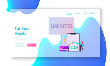 Liabilities Landing Page Template. Tiny Woman Sign Debentures Document Stand at Huge Credit Card. Unprofitable Property