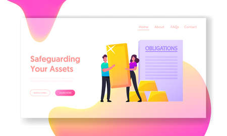 Assets and Liabilities Landing Page Template. Tiny Characters Holding Huge Golden Bar near Obligation, Property Value