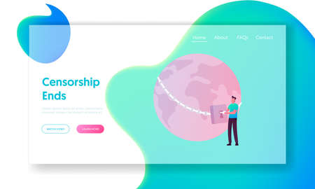 Censorship Discrimination of People Landing Page Template. Male Character Open Lock on Chain Wrapping Earth Globe
