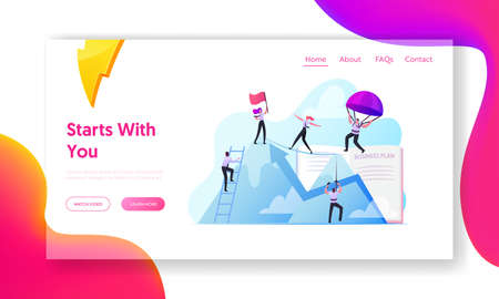 Characters New Heights, Team Work Landing Page Template. Business People Climbing on Mountain Peak, Walking on Rope