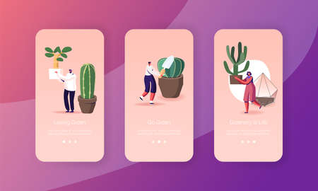 Houseplants Cacti and Succulents Grow Mobile App Page Onboard Screen Template. Tiny People Growing Decorative Plants