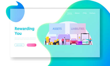 Assets and Liabilities Landing Page Template. Tiny Characters Share Property on Profitable and Unprofitable. Car, Credit