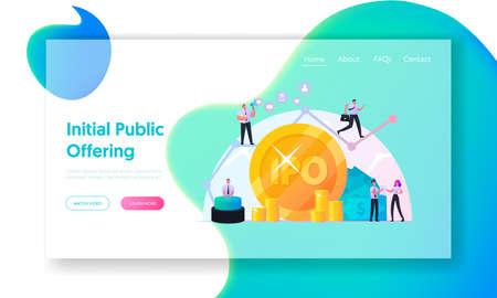IPO Initial Public Offering Landing Page Template. Tiny Characters Businessmen Businesswomen Traders at Huge Arrow Graph