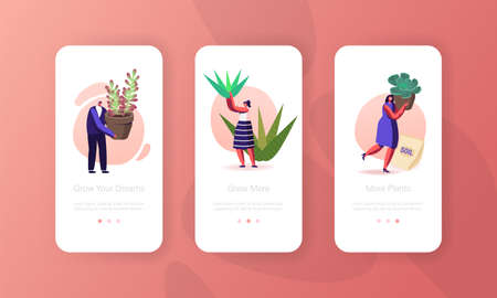 Tiny Characters Planting Decorative Plants and Flowers Mobile App Page Onboard Screen Template. People Care Houseplants  イラスト・ベクター素材