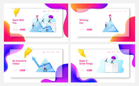 Characters New Heights, Team Work Landing Page Template Set. Business People Climbing on Mountain Peak, Walking on Rope