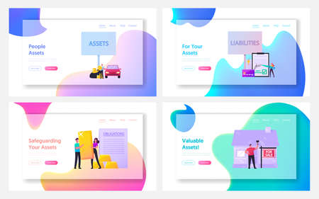 Assets and Liabilities Landing Page Template Set. Tiny Characters Share Property on Profitable and Unprofitable Value
