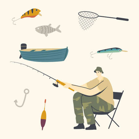 Fisherman Character Sitting on Chair with Rod on Coast Having Good Catch. Man Fishing on Lake or River at Summer Day