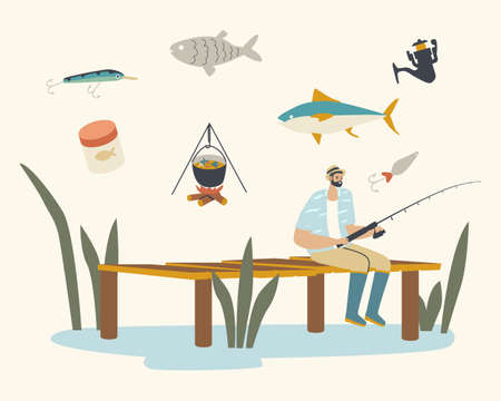 Fisherman Sitting with Rod on Wooden Pier Having Good Catch. Male Character Fishing on Calm Lake or River at Summer Day Ilustração