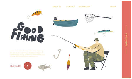 Relaxing Summertime Hobby Landing Page Template. Fisherman Character Sitting on Chair with Rod on Coast Have Good Catch