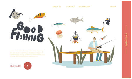 Vacation Spare Time, Leisure, Relax Landing Page Template. Fisherman Sitting with Rod on Wooden Pier Having Good Catch