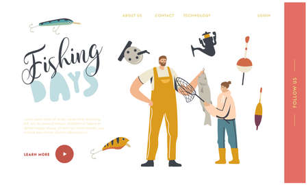Father and Daughter Characters Fishing Landing Page Template. Fisherman Holding Fish, Outdoor Relaxing Summertime Hobby