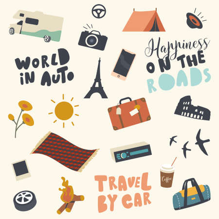 Set of Travel Icons Car, Luggage and Campfire with Automobile Wheel, Plaid, Sun and Takeaway Coffee Cup with Camp Tent
